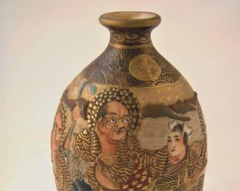 Delightful Antique Japanese Satsuma Miniature Vase Porcelain 19th Century Hand Painted  Asian Antique Home Decor