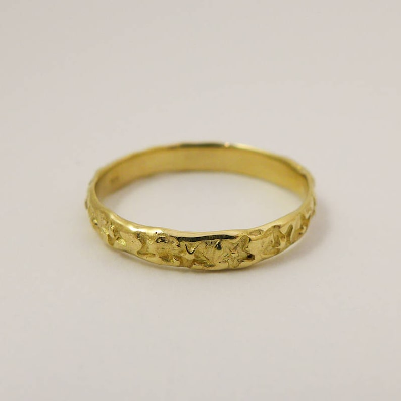 14K Yellow Gold Unique Delicate Slim Ring Size US 8 Thin Stars Wedding Band for Men and Women Celestial Rustic Ring Ready to Ship