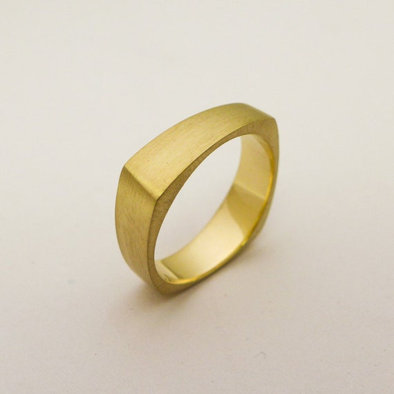 Geometric Wedding Ring For Men And Women Wide Square Gold Etsy