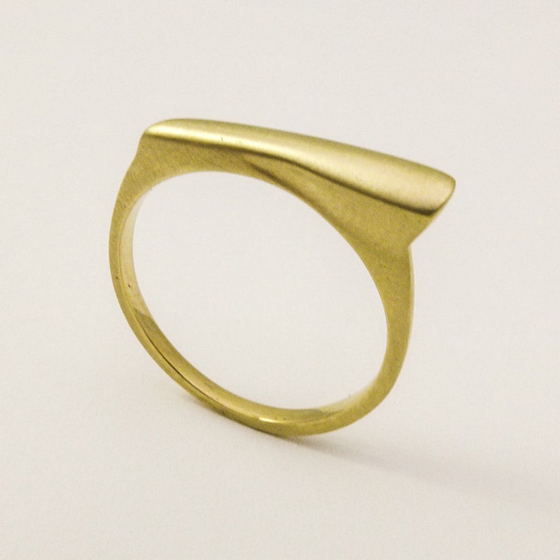 7964e2ccf3ddc1 Gold Signet Ring Unique Geometric Ring for Woman Thin 14K / | Etsy