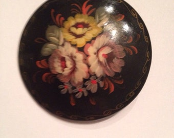 Vintage Black Laquer Hand Painted Flower Brooch