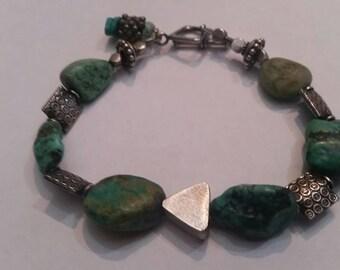 Sterling Silver Turquoise Beaded Bracelet  26 grams