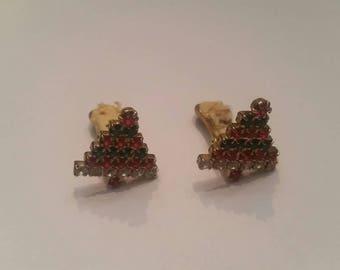Christmas Tree Earrings Rhinestone Holiday Costume