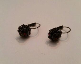 Silver Red Stone Dangle Earrings