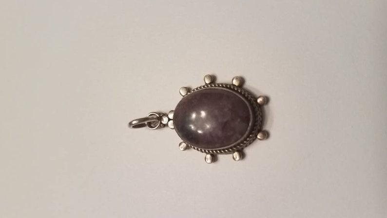 Vintage Sterling Silver Stone Pendant 925