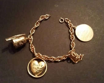 Vintage Gold Filled Charm Bracelet 1960 Shriners Charms Freemason Collectible Jewelry