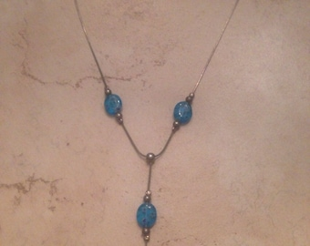 Sterling Silver Necklace with Blue Glass Beads Dangle 925 Jewelry