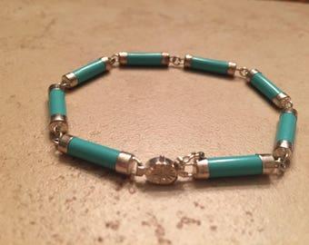 Vintage Sterling Silver Turquoise Beaded Bracelet Southwestern Jewelry