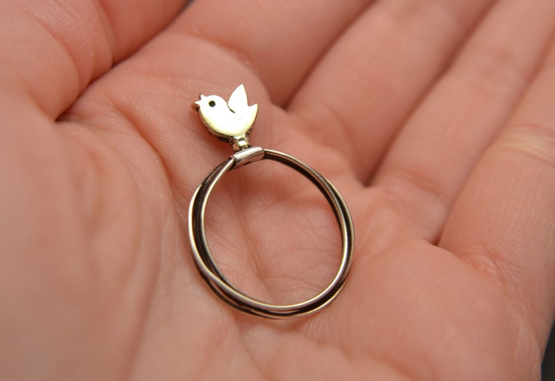 Sterling Silver Tweeting Everyday Silver Jewelry Nature Animal Rings Sparrow Ring Spring Fashion Ring Dainty Rings Thin Ring Band