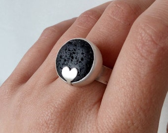OOAK Lava Stone Ring Sterling Silver Statement Open Ring Love Jewelry Black Stone Ring Unique Valentine's Gift Idea Make a Statement Jewelry