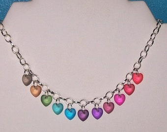 Heart Rainbow Silver Plated Chain Necklace