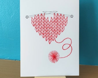 Hand Stitched Knitted Heart Valentine Birthday or Greeting Card