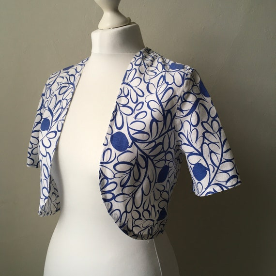 Vintage 1940s 1950s white & blue abstract floral f