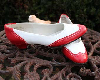 Vintage 80s 1980s Retro Red and White Wing Tip Rockabilly Pinup Shoes Size 7 Made in U.S.A