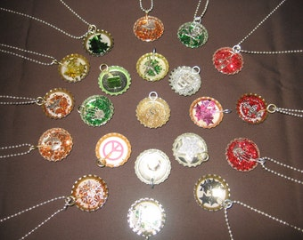 Resin Covered Bottle Cap Charm Necklace