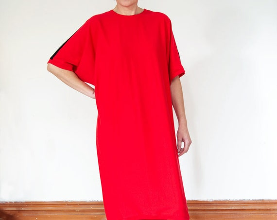 Loose-fitting Cocoon Cotton Jersey Dress