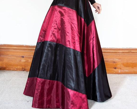 2-colours Floor Length Maxi flared taffeta Ball skirt