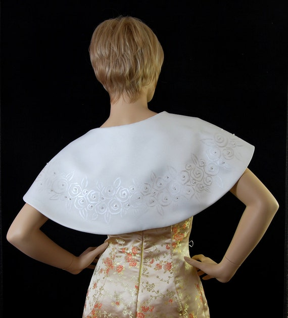 Bolero jacket short cape in Ivory heavy matt satin hand painted
