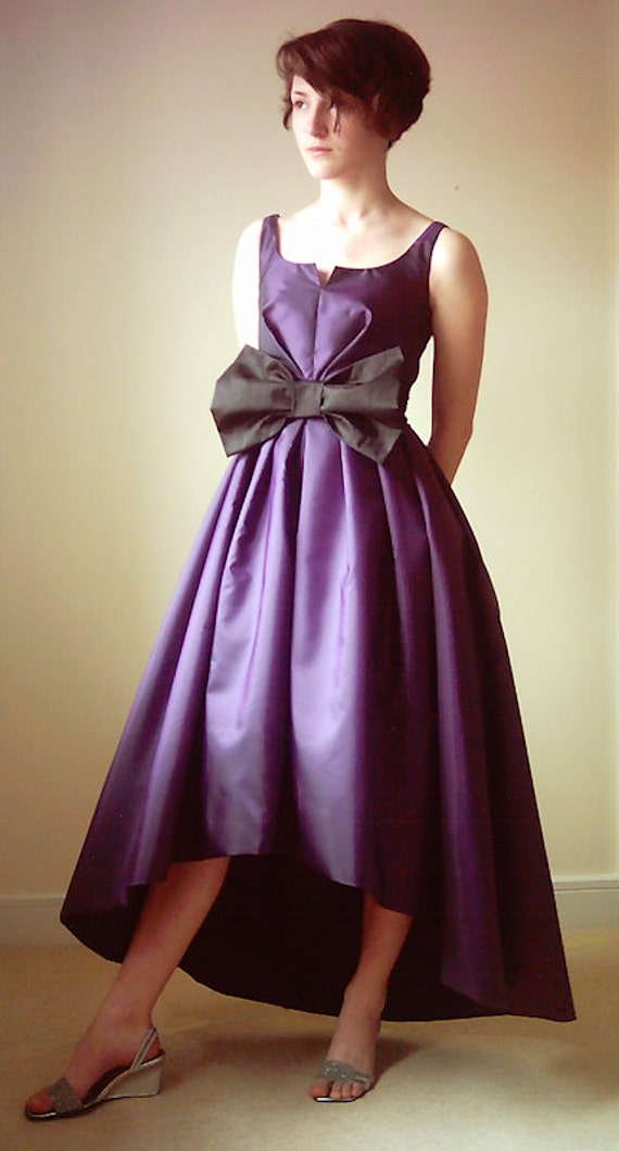 50s style Taffeta dress with slanted hem