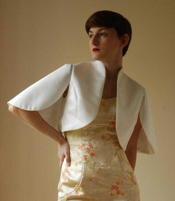 Tailored Bolero jacket - cape with wing sleeves in matt satin