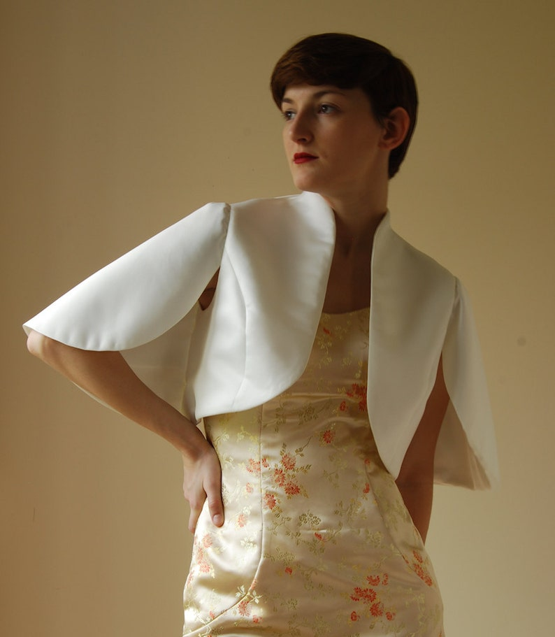 Tailored Bolero jacket  cape with wing sleeves in matt satin image 0