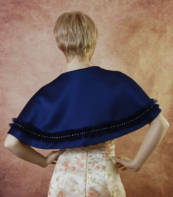 Bolero jacket short cape in matt satin with tulle frill