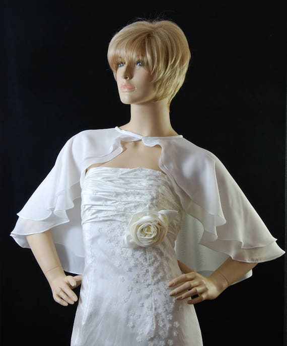 Short Flared Chiffon Georgette Cape Capelet double layered