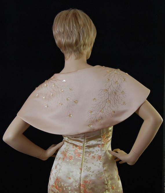 Bolero jacket short cape in matt Duchess satin. Hand painted
