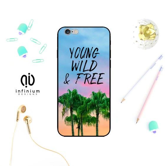 Jeune sauvage et libre cas pour iPhone 8, Samsung S9, S9 Plus, Samsung A8, A5, Samsung S8, S8 Plus, iPhone X, Plus 8, iPhone 7, iPhone 6 s et 5 s