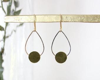 POPPY EARRINGS. Suede khaki green, gold plated