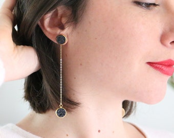 GINNY Pendant SONS BOUCLES glittery black suede discs