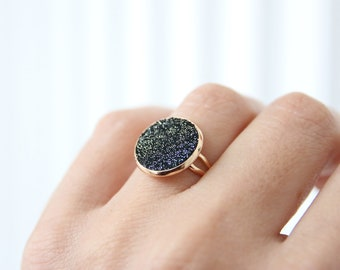 GINNY BAGUE leather disc suede black sequined cabochon way