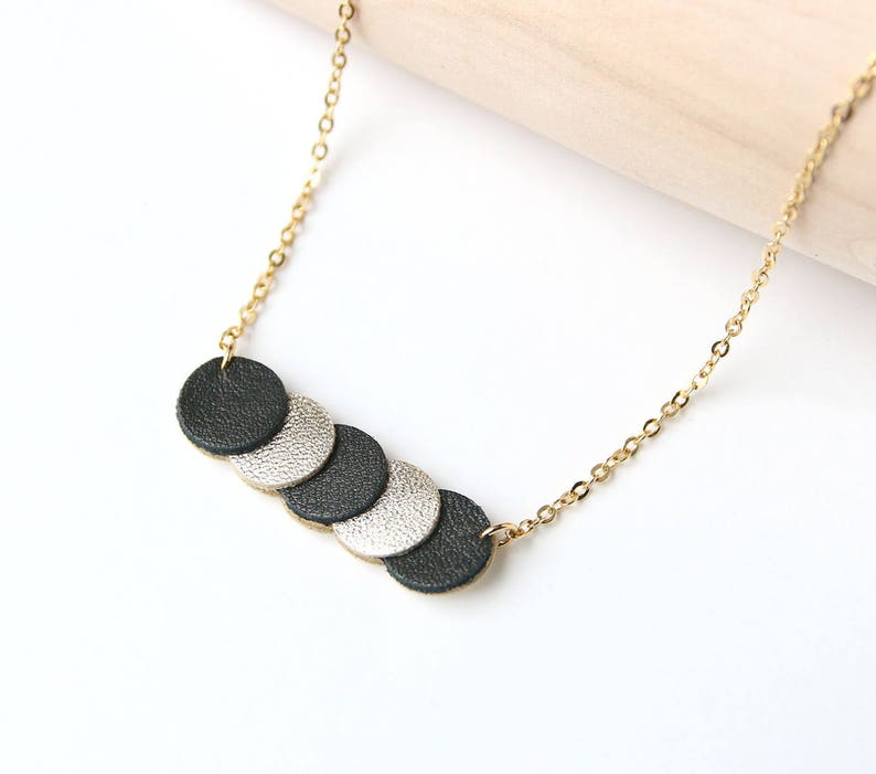 KEY NECKLACE. leather black and gold coins Platinum image 0