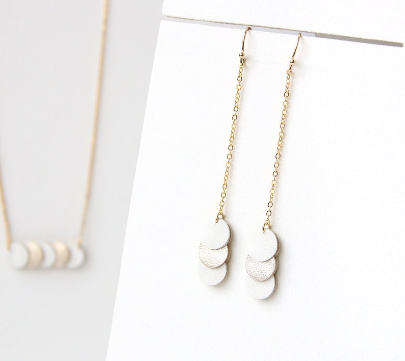 KEY EARRINGS. leather white and gold coins gold-plated image 0
