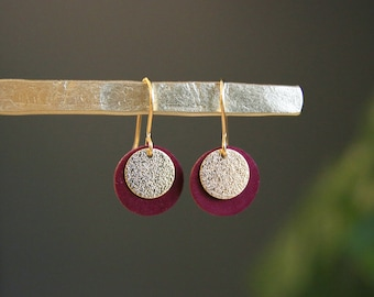 New ⋆ Ear pendants CANDICE | black leather and golden sequin