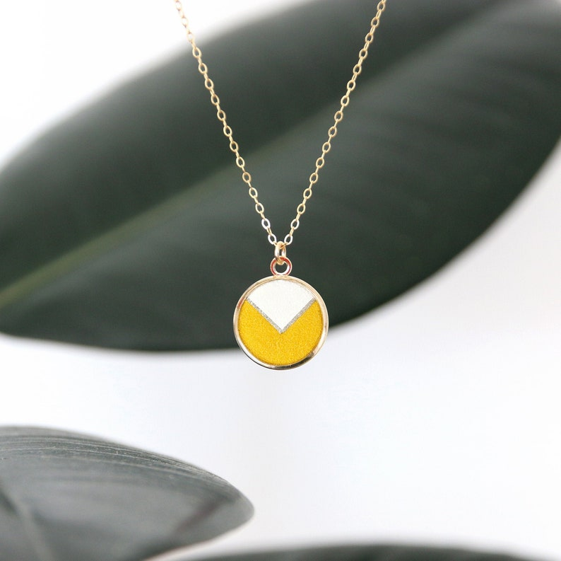 COLLIER GINNY chevron white leather and yellow velvet medal image 0