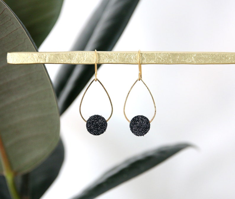 POPPY EARRINGS. Black suede leather glitter gold plated image 0