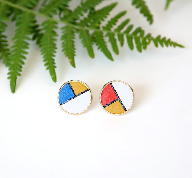 PUCES D'OREILLES GINNY sixties colorblock leather discs image 0