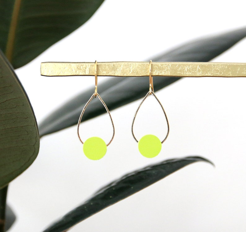 POPPY EARRINGS  neon yellow leather gold plated image 0