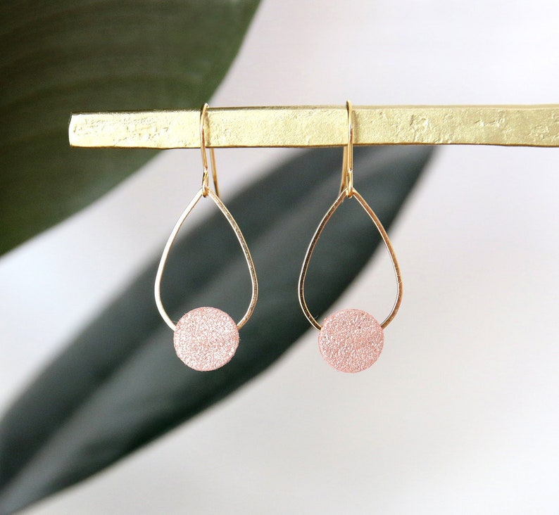 POPPY EARRINGS  pale pink iridescent glitter effect leather image 0