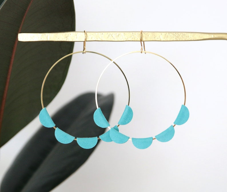 JANE CREOLES  leather velvet blue turquoise 18K gold plated image 0
