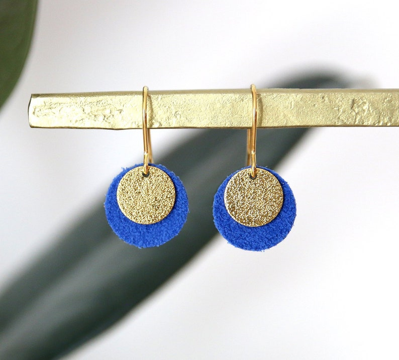 CANDICE LOOPS. electric blue suede leather and Golden brass image 0
