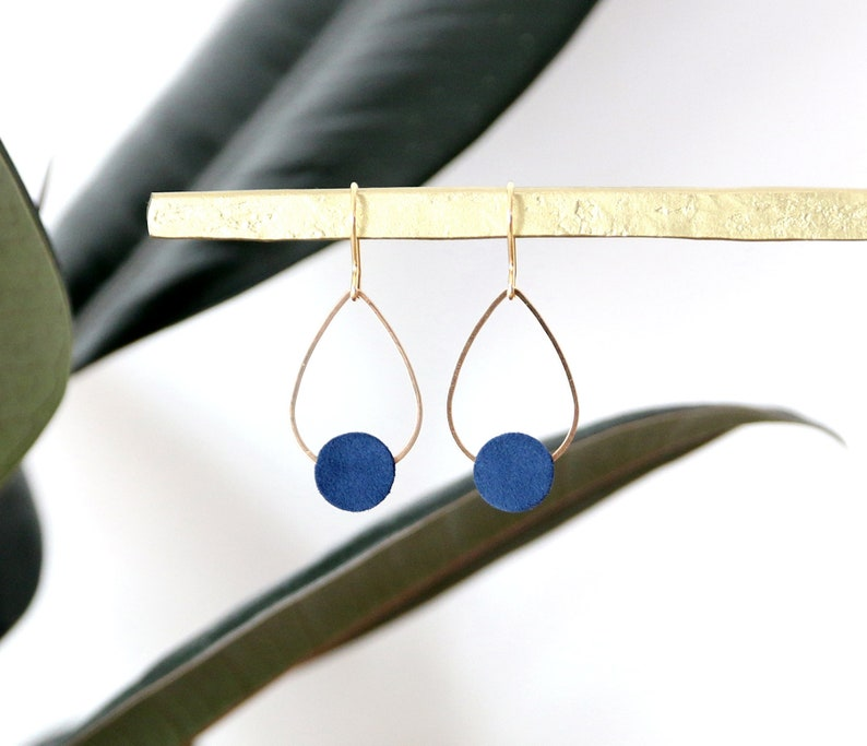 POPPY EARRINGS. Suede Navy Blue gold-plated image 0