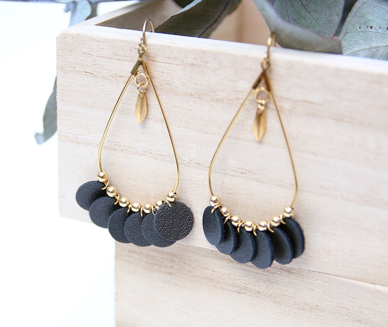 ADELE EARRINGS. style chandelier black leather gold-plated image 0