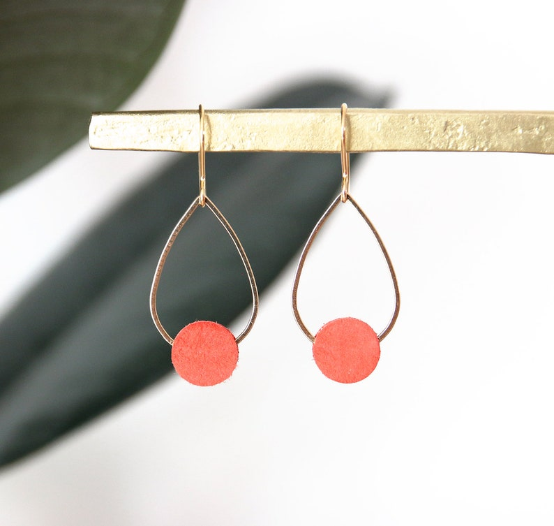 POPPY EARRINGS. Suede orange coral gold-plated image 0