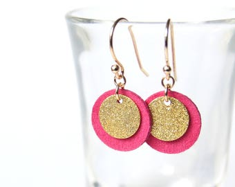 CANDICE LOOPS. gold plated brass, and fuchsia suede leather sequins