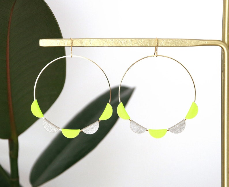 JANE CREOLES  neon yellow and Platinum leather 18K gold image 0