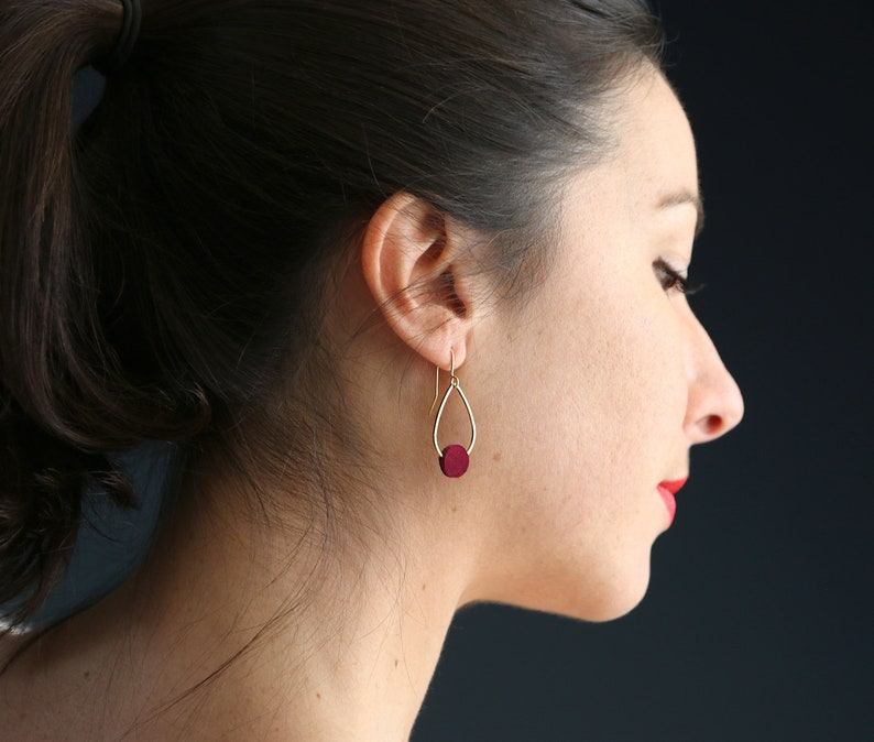 POPPY EARRINGS. Suede Burgundy gold-plated image 0