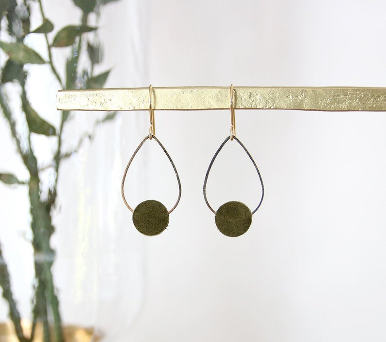 POPPY EARRINGS. Suede khaki green gold plated image 0