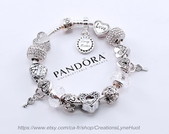 029f9f14c Guenine PANDORA Bracelet Sterling silver 925 with all the beads -OR-select  European stainless steel bracelet with all the charms-